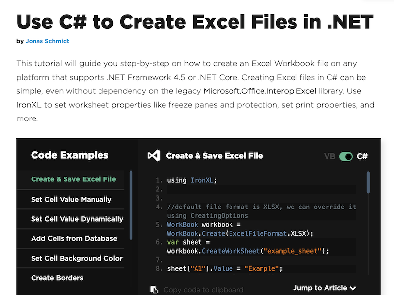 C# Create Excel File Tutorial full screenshot