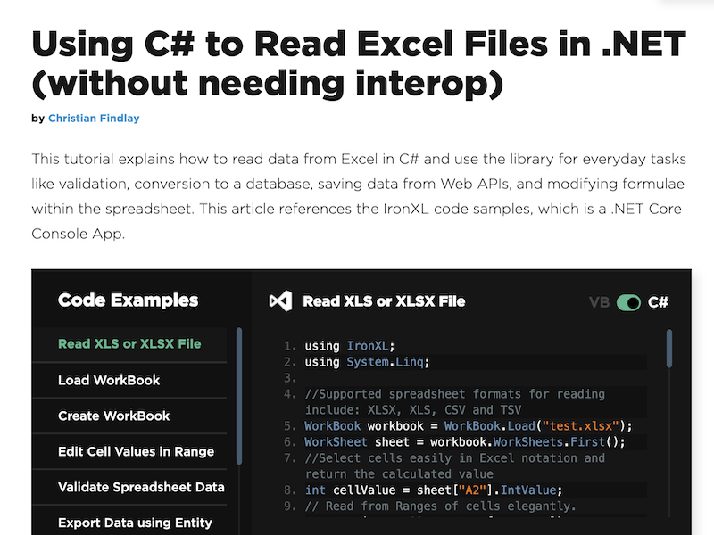 C# Read Excel File full screenshot
