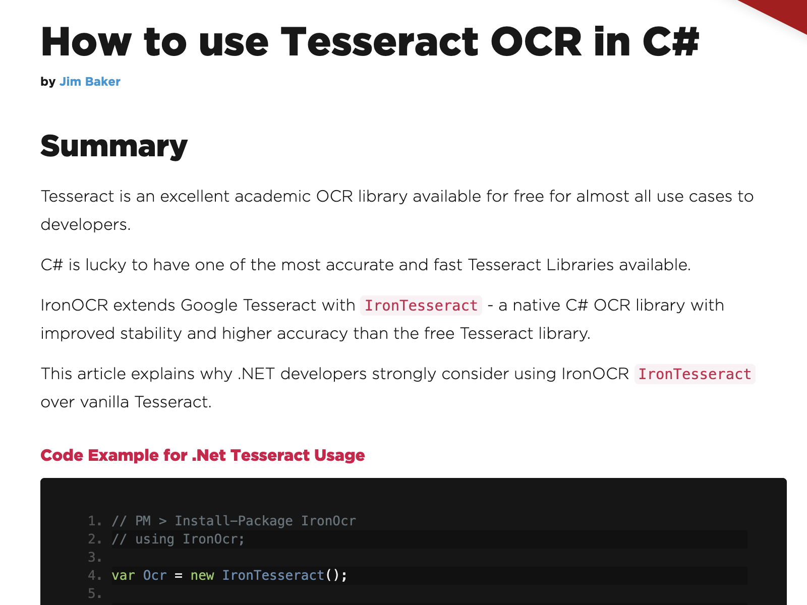How to use Tesseract OCR in C#