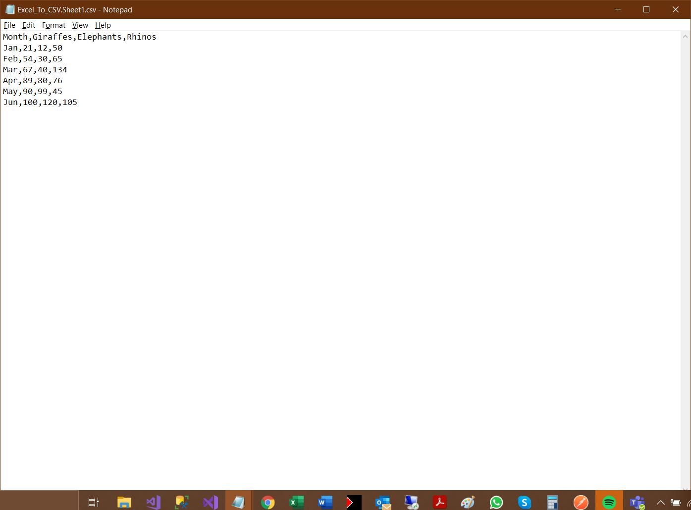 Output CSV file